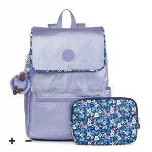 Kipling Aliz Metallic Mist Purple Large Backpack